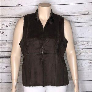Susan Graver XL Faux Suede & Fur Reversible Vest